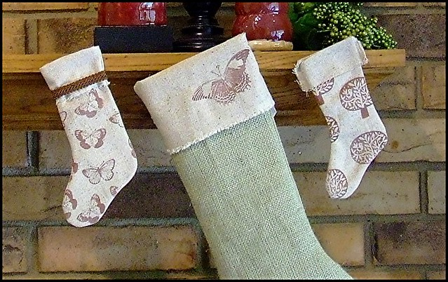 Burlap and muslin Christmas Stockings