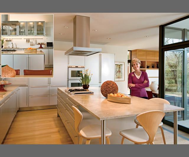 modern kitchen White cabinets + limestone counters + white oak floors