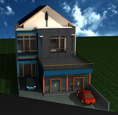 desain-rumah-usaha-2-lantai | tampak depan rumah tinggal