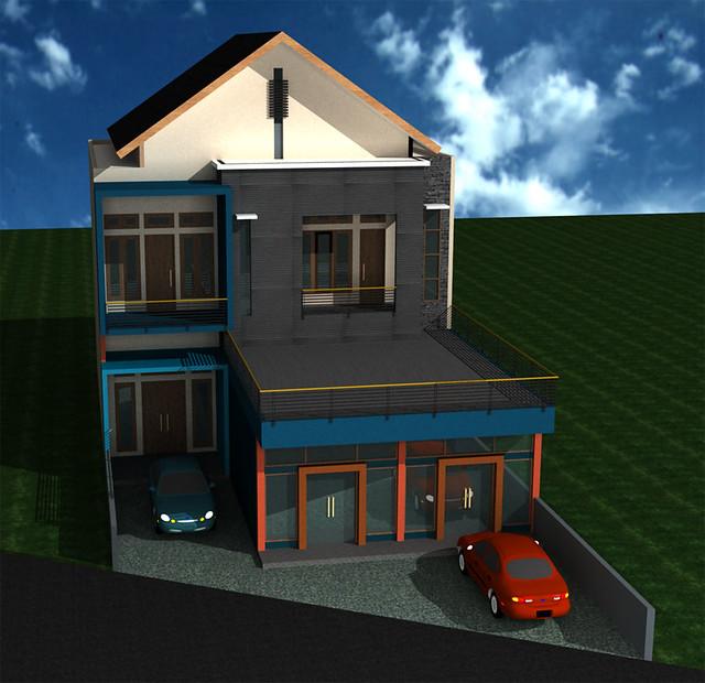 Desain-Rumah-Usaha-2-Lantai | Tampak depan rumah tinggal ...