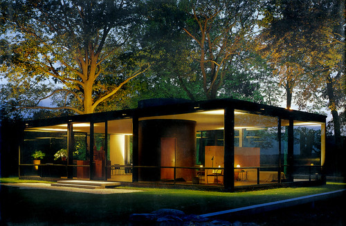 Glass House, dusk - Philip Johnson arch.