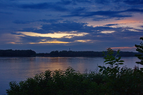 sky nature water night river coast view bulgaria romania danube afterrain ruse