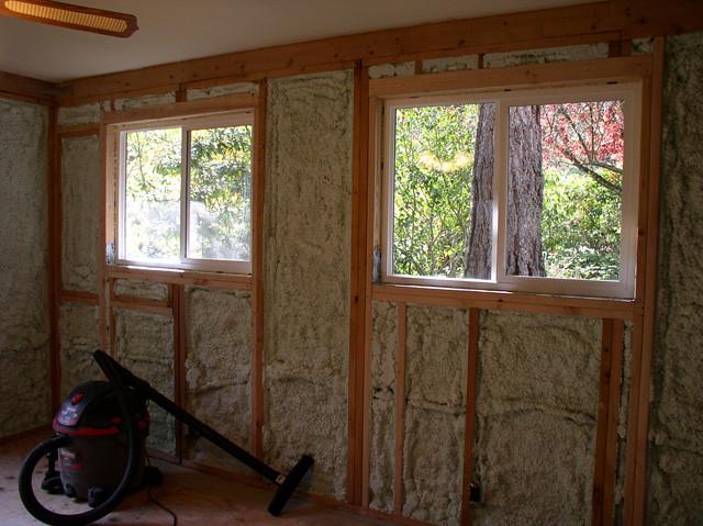 spray foam insulation on interior of exterior wall flickr photo