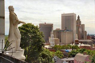 B_13A College Hill - Roger Williams Statue (1939) and Downtown Providence from Prospect Terrace (1867) - 75 Congdon Street