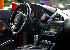 automobile, vehicle, automotive design, audi r8, steering wheel, land vehicle, luxury vehicle,