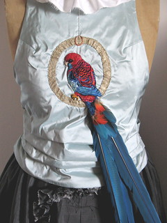 Red Rosella camisole with Macaw feathers, Aug2009