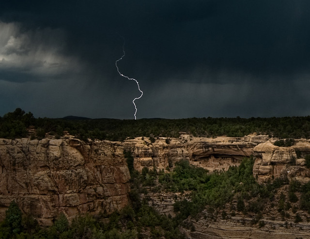 Lighting strike over Cliff Palace
