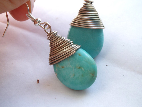 Mexican Turquoise Teardrops earrings for women by Justine Justine