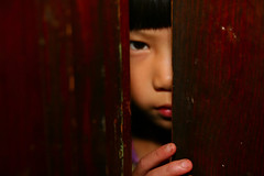 Girl Peers Behind Door Stephen King Horror Macro 11-1-09 1