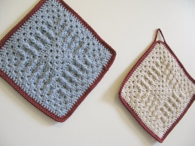 Edna and Gladys, organic crochet dish cloths by Emma Lamb