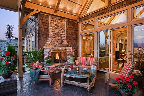 Mountain View Timber Frame Home - Open Air Patio