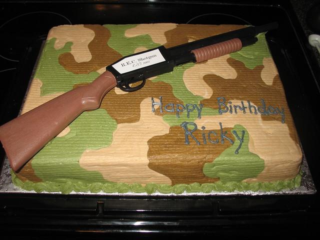 hunting gun camo Cake