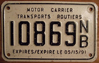 NEW BRUNSWICK, EXPIRES/EXPIRE LE 05/15/91, BILINGUAL FULLY EMBOSSED ---MOTOR CARRIER-TRANSPORTS ROUTIERS plate