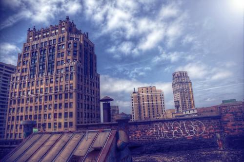 life roof friends sky clouds buildings hope detroit thefarwellbuilding