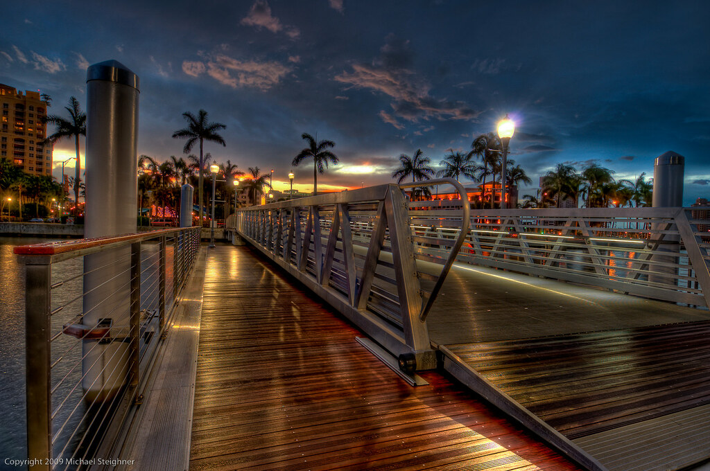 Rainy night at dusk at the new docks - West Palm Beach, Florida by MDSimages.com