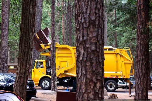 campground garbage truck emptying a bear proof dumpster    MG 4297