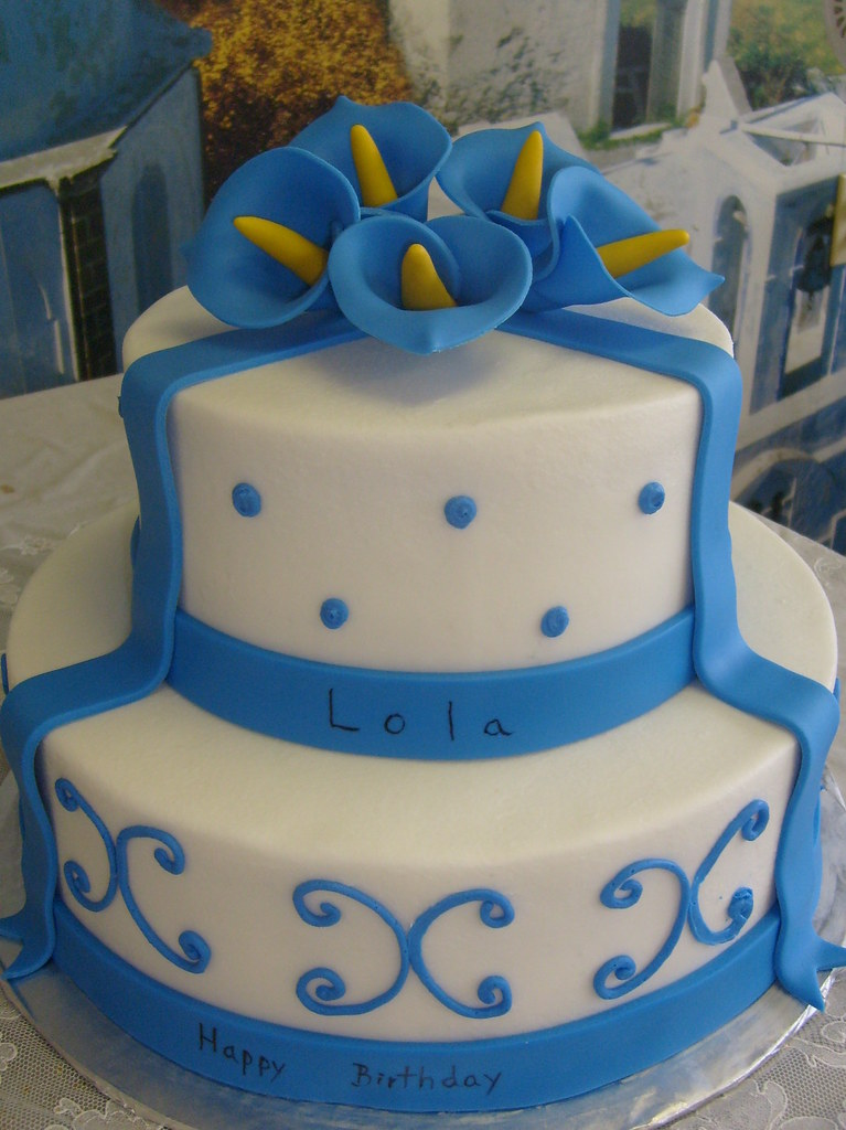 White Blue Calla Lilies Birthday Cake