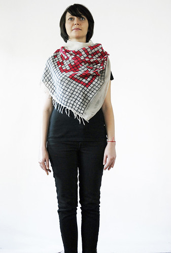 QR-code hidden message square scarf by LOOMLAB