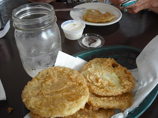 Fried Green Tomatoes and ice water in jars