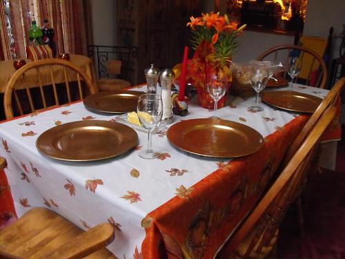 Table set for Thanks giving dinner