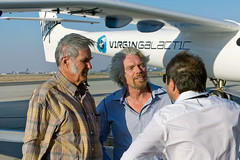 Burt Rutan, Sit Richard Branson and Virgin Galactic President, Will Whitehorn at the roll out of VMS Eve, Mojave, July 08. Credit Herb Lingl