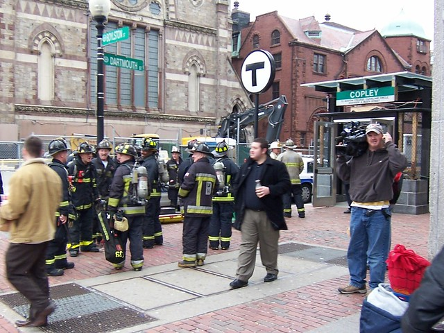 firefighters and bewildered cameraman