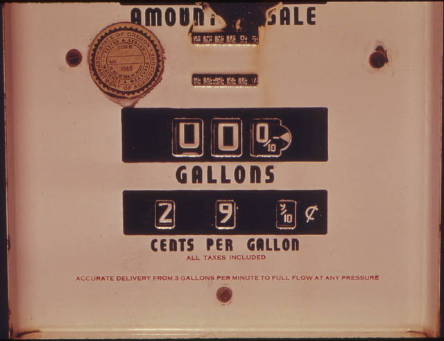 DOCUMERICA: Sign of the Past Is This Abandoned Gasoline Pump with a Price of 29.9 Cents Per Gallon. The Cost of Fuel Has Made Such a Reoccurrence Nothing But a Dream. The Gas Pump Was Photographed at 04/1974 by David Falconer.
