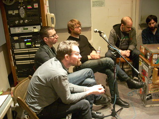 Gram, Tim, Brad, Matt and Jimmy being interviewed on KALX