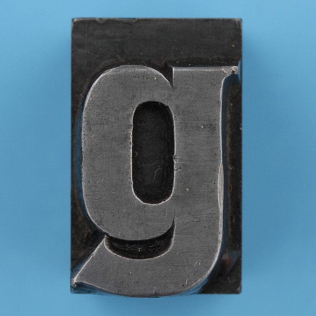 metal type letter g
