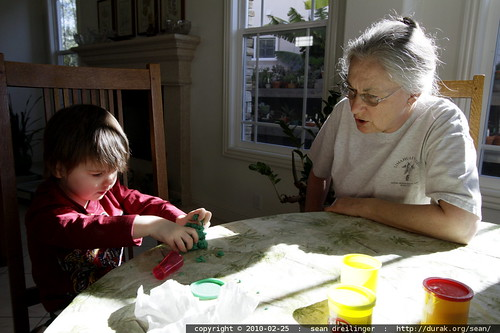 playing play doh with grandma