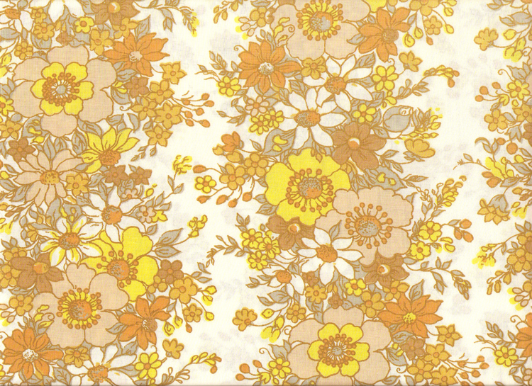 70 S Yellow Amp Brown Flower Pattern Textile A Photo On