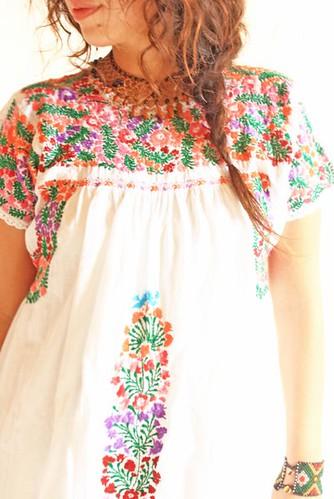 Maria San Antonino Oaxaca Mexican embroidered dress