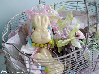 Chocolate filled Easter basket