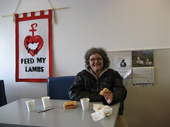 Linda enjoys lunch at Saskatoon Native Circle Ministry