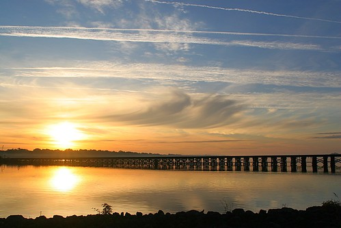 railroad trestle train sunrise river landscape nc riverfront washingtonnc riverscape