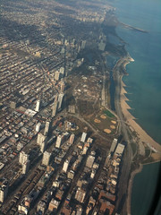 Flying above downtown Chicago