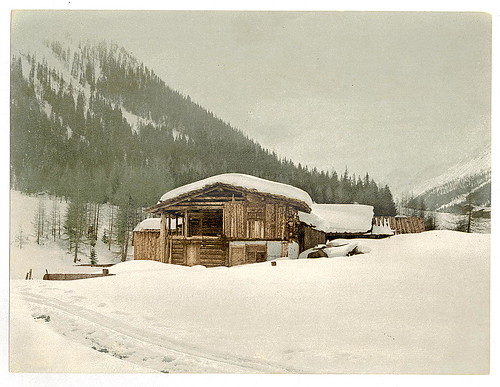 [Winter scene with log structure, Grisons, Switzerland] (LOC)