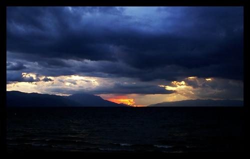 blue sunset sky sun lake storm mountains color colour clouds turkey sony turkiye stormy 2009 a100 iznik darka nicea nicaea