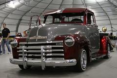 custom car(0.0), mid-size car(0.0), compact car(0.0), ford(0.0), hot rod(0.0), vintage car(0.0), luxury vehicle(0.0), automobile(1.0), automotive exterior(1.0), pickup truck(1.0), vehicle(1.0), truck(1.0), auto show(1.0), chevrolet advance design(1.0), antique car(1.0), land vehicle(1.0), motor vehicle(1.0),