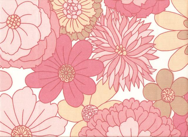 Pink Flowers Vintage Textile