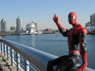 Spider-Man walking towards Sochi House (aka Science World) during the 2010 Vancouver Olympics