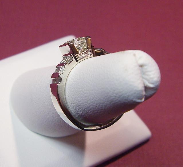 14K Princess Cut Baguette Wedding Band 3