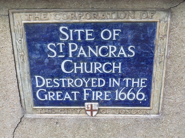 St. Pancras Church, London blue plaque - Site of St. Pancras Church destroyed in the Great Fire 1666