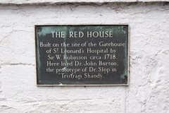 Photo of The Red House, Gatehouse of St. Leonard's Hospital, W. Robinson, and John Burton bronze plaque