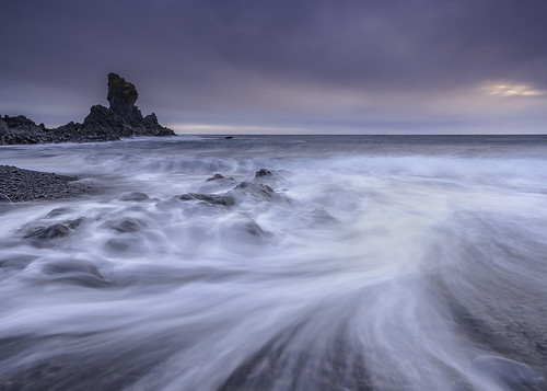 longexposure sunset cloud seascape beach landscape lava coast iceland rocks surf waves cloudy djupalonssandur