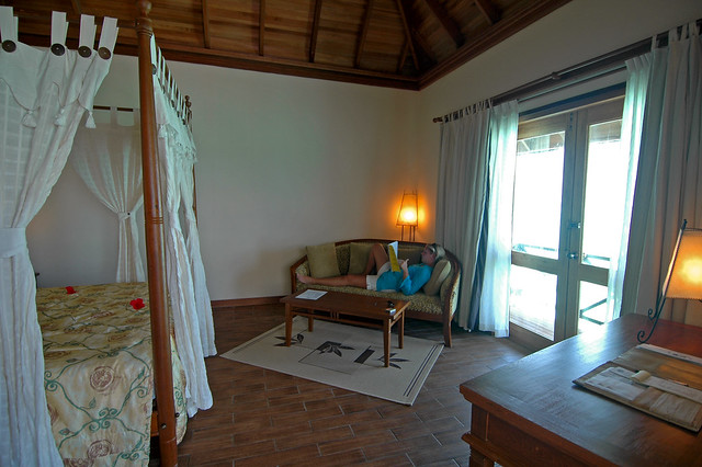 Bedroom in Honeymoon Water Villa, Vilu Reef Beach & Spa Resort