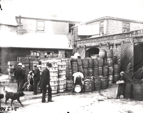Stacking boxes on the Fish Quay North Shields c.1890