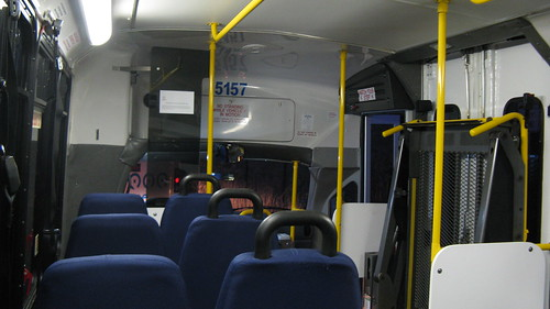 Foreward interior view of First Transit 2008 Ford paratransit bus # 5157. Glenview Illinois. November 2009. by Eddie from Chicago