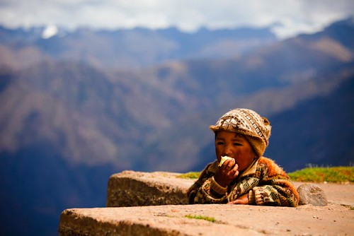 boy mountain peru children view