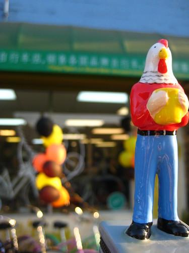 Chicken Boy in front of Flying Pigeon LA bike shop